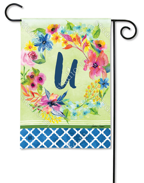 Fresh and Pretty Floral Monogram U Garden Flag