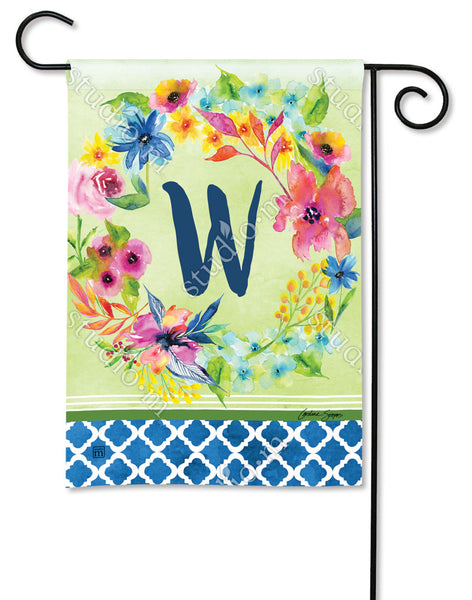 Fresh and Pretty Floral Monogram W Garden Flag