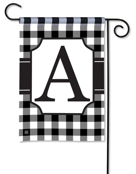 Black & White Check Monogram A Garden Flag