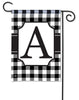 Black And White Check Monogram A Garden Flag
