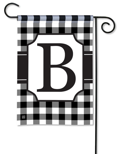 Black & White Check Monogram B Garden Flag