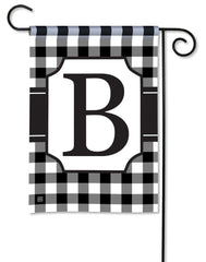 Black And White Check Monogram B Garden Flag