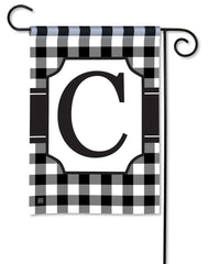 Black & White Check Monogram C Garden Flag
