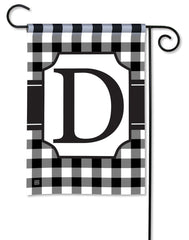 Black & White Check Monogram D Garden Flag