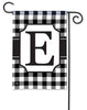 Black & White Check Monogram E Garden Flag