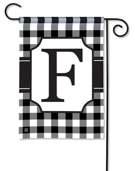 Black & White Check Monogram F Garden Flag