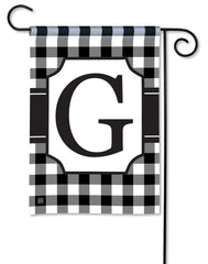 Black & White Check Monogram G Garden Flag