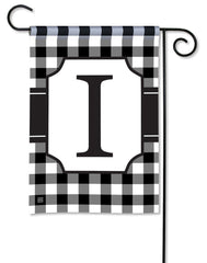Black & White Check Monogram I Garden Flag