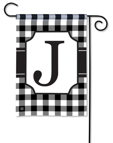 Black And White Check Monogram J Garden Flag