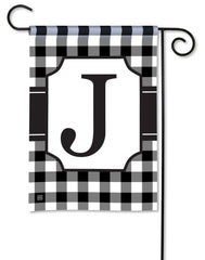 Black & White Check Monogram J Garden Flag