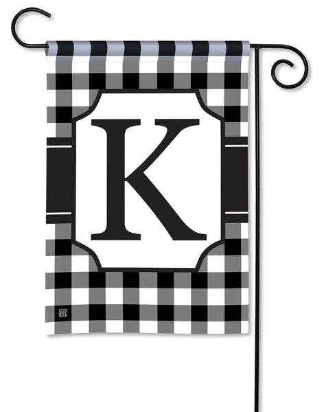 Black & White Check Monogram K Garden Flag