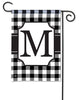 Black & White Check Monogram M Garden Flag