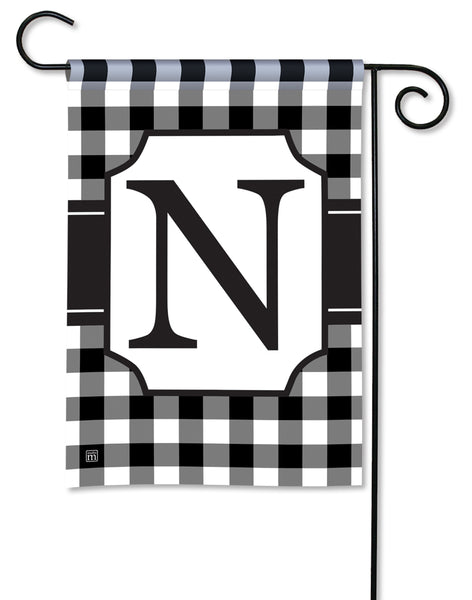 Black & White Check Monogram N Garden Flag