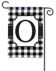 Black And White Check Monogram O Garden Flag