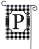 Black & White Check Monogram P Garden Flag