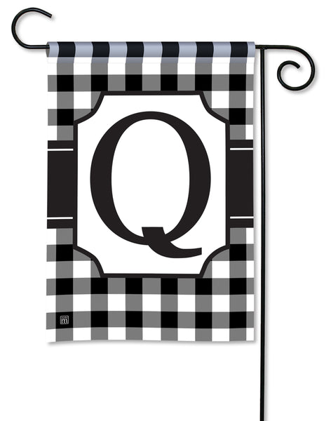 Black And White Check Monogram Q Garden Flag