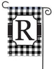 Black & White Check Monogram R Garden Flag