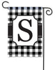 Black And White Check Monogram S Garden Flag