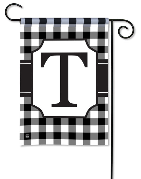 Black And White Check Monogram T Garden Flag