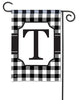 Black & White Check Monogram T Garden Flag