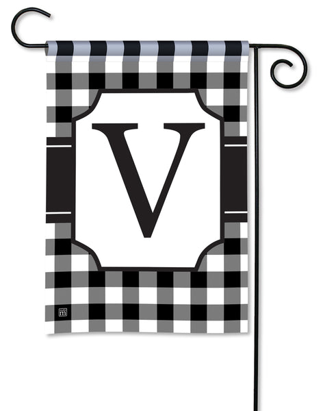 Black And White Check Monogram V Garden Flag