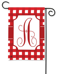 Red & White Check Monogram A Garden Flag