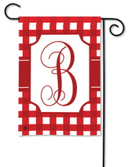 Red & White Check Monogram B Garden Flag