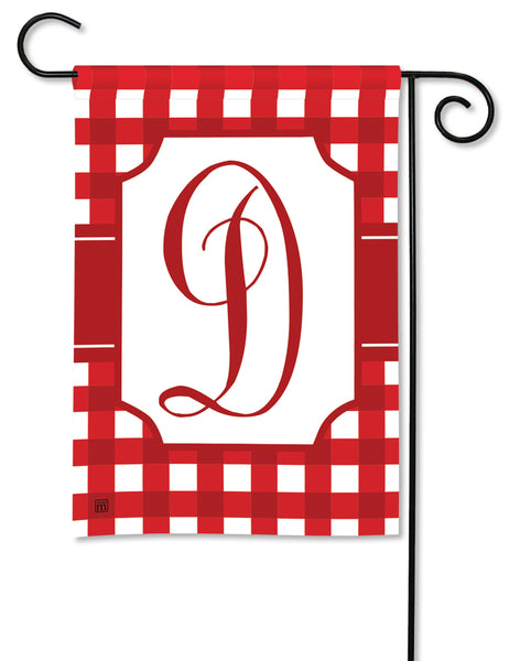 Red & White Check Monogram D Garden Flag
