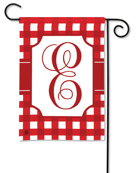 Red And White Check Monogram E Garden Flag