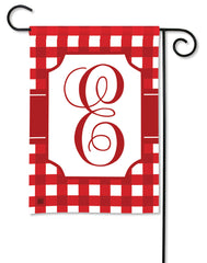 Red & White Check Monogram E Garden Flag