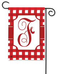 Red & White Check Monogram F Garden Flag