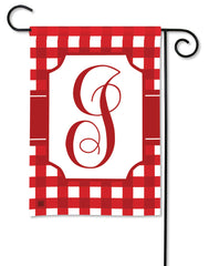 Red & White Check Monogram I Garden Flag
