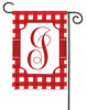 Red And White Check Monogram I Garden Flag