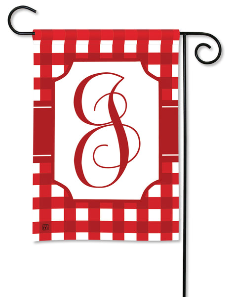 Red & White Check Monogram J Garden Flag