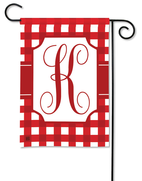 Red & White Check Monogram K Garden Flag