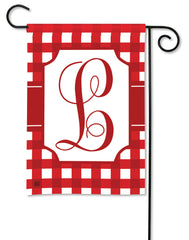 Red & White Check Monogram L Garden Flag