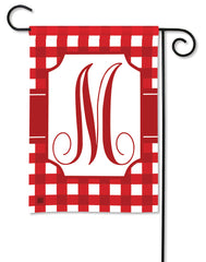 Red & White Check Monogram M Garden Flag