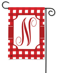 Red & White Check Monogram N Garden Flag