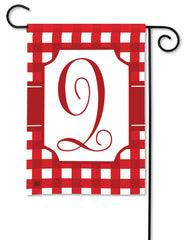 Red & White Check Monogram Q Garden Flag