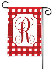 Red & White Check Monogram R Garden Flag