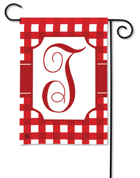 Red & White Check Monogram T Garden Flag