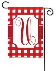 Red & White Check Monogram U Garden Flag