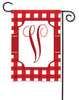 Red And White Check Monogram V Garden Flag
