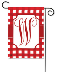 Red & White Check Monogram W Garden Flag