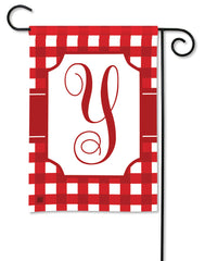 Red & White Check Monogram Y Garden Flag