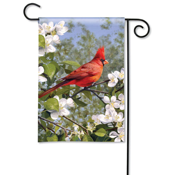 Cardinal in Blossoms Garden Flag