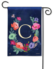 Boho Flowers Monogram C Garden Flag