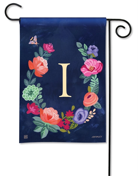 Boho Flowers Monogram I Garden Flag