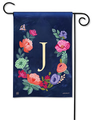 Boho Flowers Monogram J Garden Flag