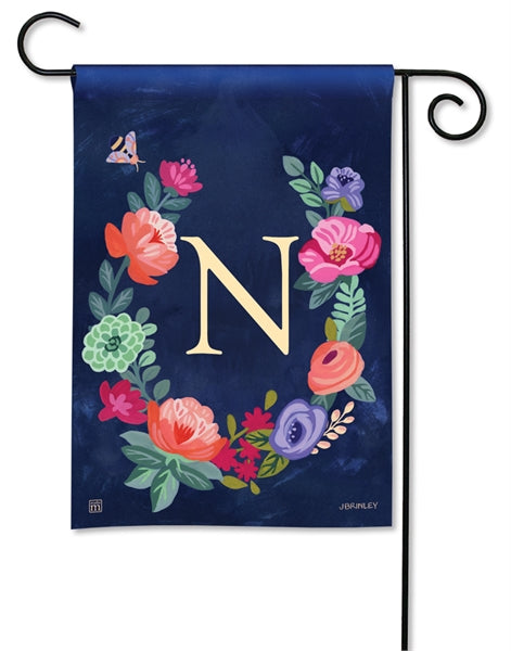 Boho Flowers Monogram N Garden Flag
